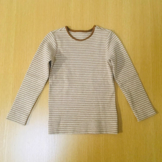 H&M - 【新品未使用】H&M リブロングTシャツ ベージュ&ブラウンストライプ