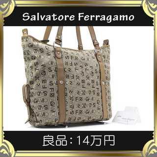 Salvatore Ferragamo - 【真贋査定済・送料無料】フェラガモのショルダーバッグ・良品・本物・ロゴ総柄・人気