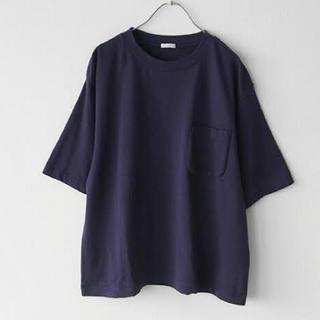 COMOLI - 17ss comoli 裏毛半袖クルー Tシャツ ネイビー