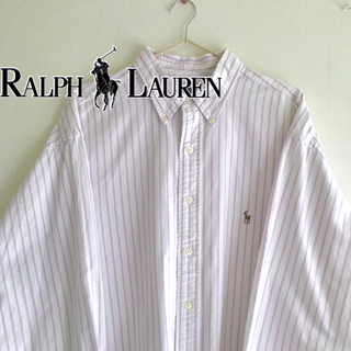 ラルフローレン(Ralph Lauren)のラルフローレン ボタンダウンシャツ 刺繍ロゴ ストライプ 紫(シャツ)