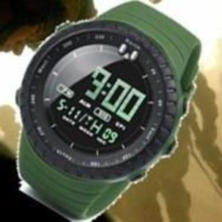■2020新入荷!■ダイバーズウォッチ黒フェイスカーキバンド 50M防水(腕時計(デジタル))