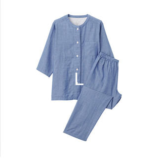 MUJI (無印良品) - 脇に縫い目のない細番手二重ガーゼ 七分袖パジャマ