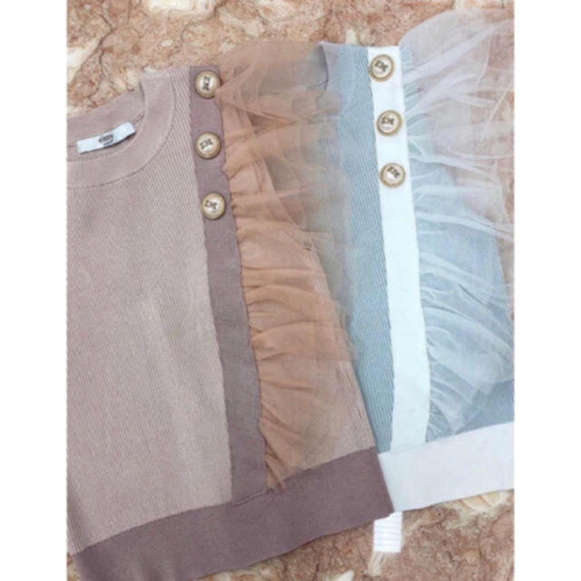 eimy istoire(エイミーイストワール)のEM pearlチュールコンビニットトップス レディースのトップス(カットソー(半袖/袖なし))の商品写真