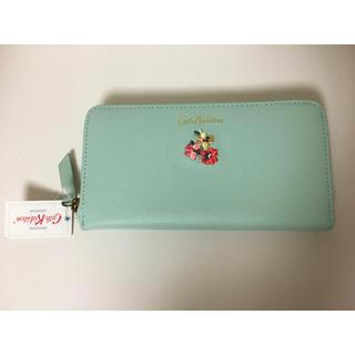 Cath Kidston - キャスキッドソン 長財布 財布 ミント グリーン パンジー 刺繍 花柄