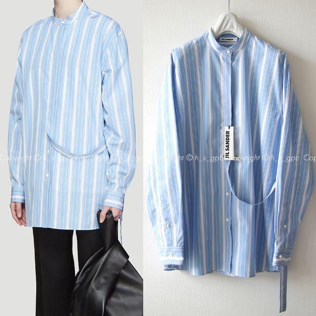 Jil Sander(ジルサンダー)の【名作】ジルサンダー ストラップ バンド カラー シャツ ブラウス メンズのトップス(シャツ)の商品写真