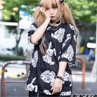 エーシーディーシーラグ(ACDC RAG)のPバニードールTシャツ          ブラック/グレイ(Tシャツ(半袖/袖なし))
