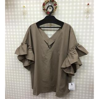 【新品】4Lインド綿袖フリル(シャツ/ブラウス(半袖/袖なし))
