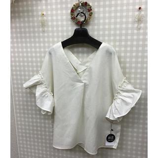 【新品】3Lインド綿袖フリル(シャツ/ブラウス(半袖/袖なし))