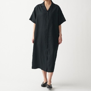 MUJI (無印良品) - ☆新品☆無印良品フレンチリネン洗いざらし五分袖開襟ワンピース/黒/XS~S