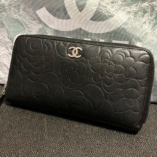 CHANEL - 正規品!美品!CHANEL シャネル ブラック カメリア型押し 長財布