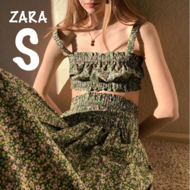 ZARA(ザラ)の【新品・未使用】ZARA フラワー プリント スカート S レディースのスカート(ひざ丈スカート)の商品写真