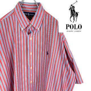 ラルフローレン(Ralph Lauren)のUSA古着【ラルフローレン】BDシャツ ストライプ レッド ブルー ビッグサイズ(シャツ)