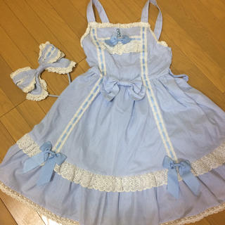 ベイビーザスターズシャインブライト(BABY,THE STARS SHINE BRIGHT)のBABY サックスストライプ JSK ジャンパースカート(ひざ丈ワンピース)