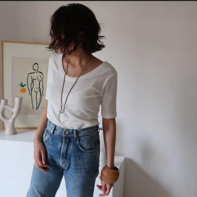 argue リブTシャツ 新品未使用 レディースのトップス(Tシャツ(半袖/袖なし))の商品写真