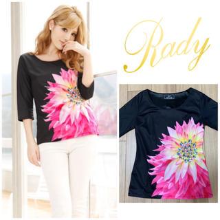 レディー(Rady)のRady 大花柄トップス ブラック(Tシャツ(長袖/七分))