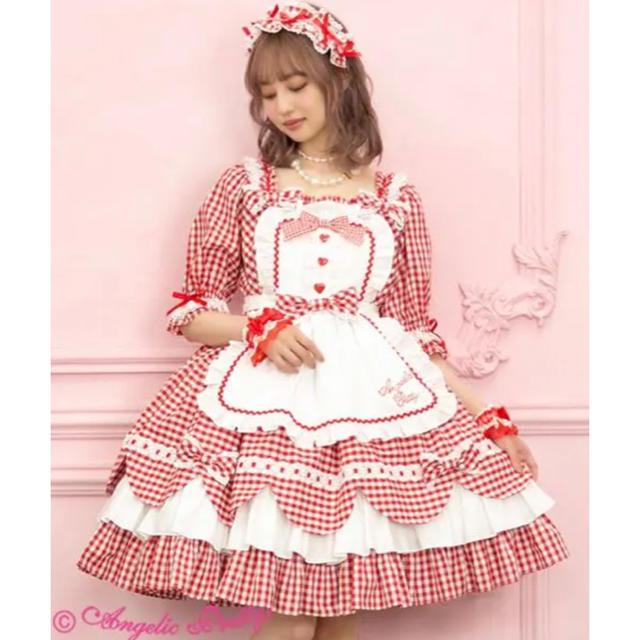 Angelic Pretty(アンジェリックプリティー)のangelic pretty heart cafe ワンピースセット 赤色 レディースのワンピース(ひざ丈ワンピース)の商品写真
