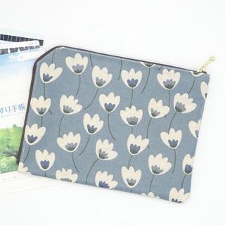 母子手帳ケースS*花2ブルーグレー・薬手帳《ハンドメイド》ラミネートマスクケース