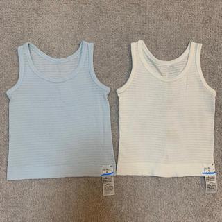 ムジルシリョウヒン(MUJI (無印良品))の2枚組 無印 肌あたりがやさしいタンクトップ ベビー 80cm ブルー/白(肌着/下着)