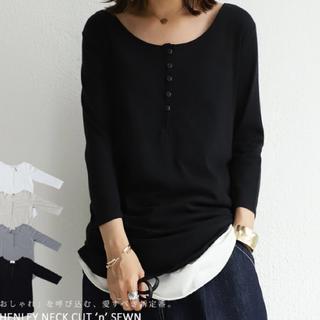 アンティカ(antiqua)のアンティカ ヘンリーネック ロンT ブラックM(Tシャツ(長袖/七分))