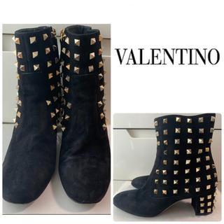 VALENTINO - VALENTINO ブラックスエード スタッズ ブーツ