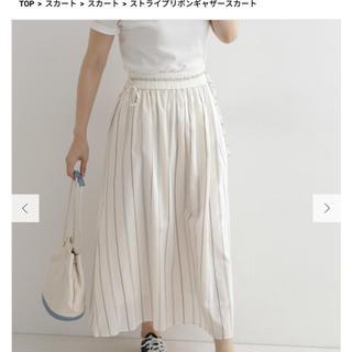 ドアーズ(DOORS / URBAN RESEARCH)のUR DOORS ストライプリボンギャザースカート size  FREE(ロングスカート)
