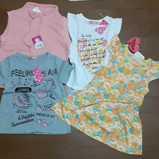 女の子 トップス Tシャツ ワンピース 半袖 ノースリーブ 四枚新品未使用セット