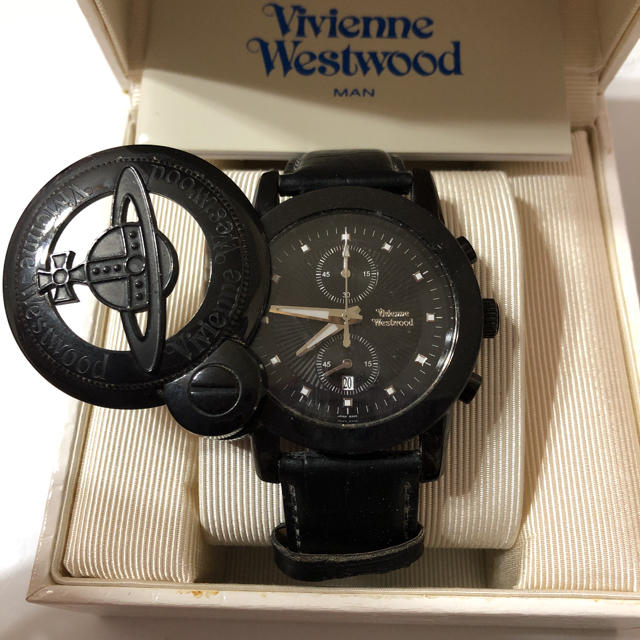 Vivienne Westwood(ヴィヴィアンウエストウッド)のヴィヴィアン 腕時計 ブラック 廃盤レア 電池交換済みです。 オーブ レディースのファッション小物(腕時計)の商品写真