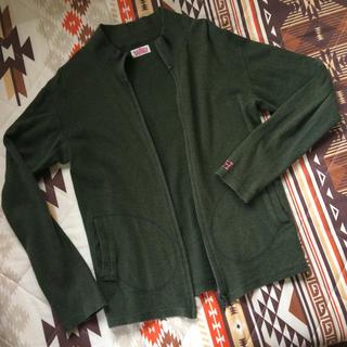ハリウッドランチマーケット(HOLLYWOOD RANCH MARKET)のハリウッドランチマーケットストレッチフライスH刺繍ジップポケットカーディガン美品(Tシャツ/カットソー(七分/長袖))