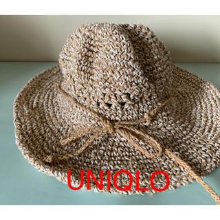 ユニクロ(UNIQLO)のストローハット 麦わら帽子 UNIQLO 夏  サイズ 58㎝  (麦わら帽子/ストローハット)