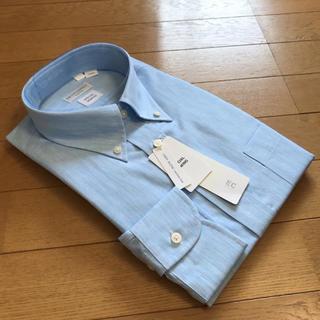 スーツカンパニー(THE SUIT COMPANY)のスーツカンパニー長袖ドレスシャツL41-88cm ボタンダウン リネン混サックス(シャツ)