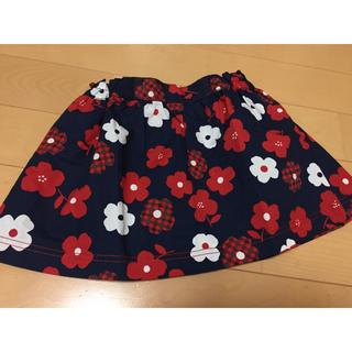 familiar - タグ付き新品未使用 ファミリア スカート 90cm お花 チェック 赤 紺 白