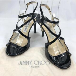 JIMMY CHOO - 【良品】ジミーチュー エナメル アンクルスストラップサンダル ハイヒール