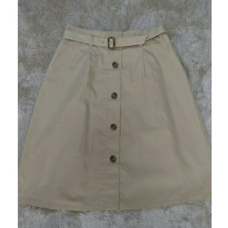 NATURAL BEAUTY BASIC - 共布ベルト付き膝丈フレアスカート(NBB)