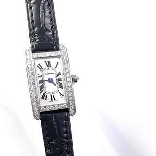 カルティエ(Cartier)の【保証書付】カルティエ タンク アメリカン ミニ シルバー ダイヤ 腕時計(腕時計)