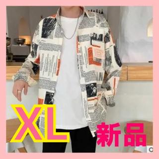 ☆新品☆メンズ ニュースペーパーオープンシャツ☆XL(シャツ)