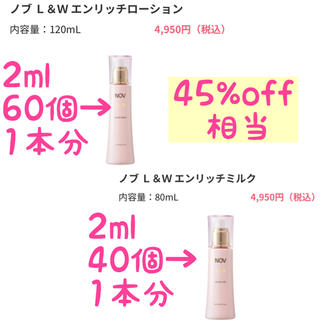 ノブ(NOV)のNOV L&W エンリッチローション&ミルク 45%off❣️(化粧水/ローション)