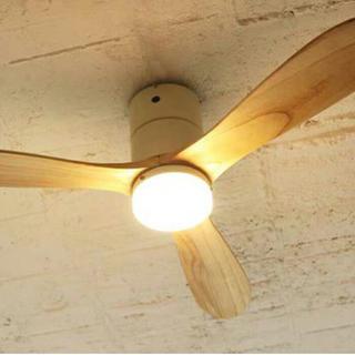 LEDシーリングファン REAL wood blades(電球色)ホワイト(天井照明)