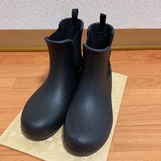 クロックス(crocs)の美品 クロックス レインシューズ サイドゴア ブーツ W7 23センチ 黒(レインブーツ/長靴)