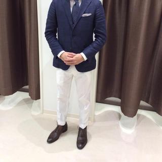 スーツカンパニー(THE SUIT COMPANY)のスーツカンパニー 春夏物コットンパンツ新品サイズL ホワイト モデルIS 細身(スラックス)