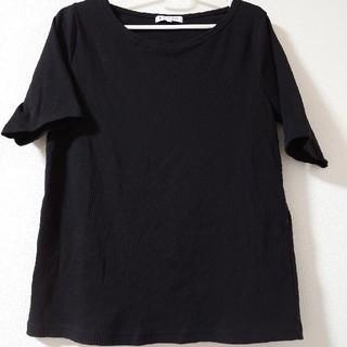 グローバルワーク(GLOBAL WORK)のブラック半袖リブカットソー(Tシャツ(半袖/袖なし))
