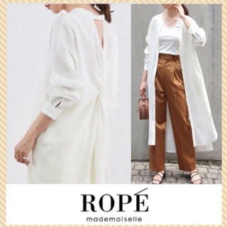 ROPE - 美品✨トレンド ロペマドモアゼル ロング シャツワンピース リネンライク 羽織り