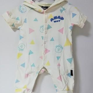 アナップキッズ(ANAP Kids)の綿100% ANAP ロンパース フード付 イエロー 赤ちゃん 出産準備(ロンパース)