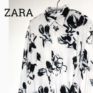 ZARA - ZARA ザラ レーヨン花柄シャツ ブラック×ホワイト 白 黒