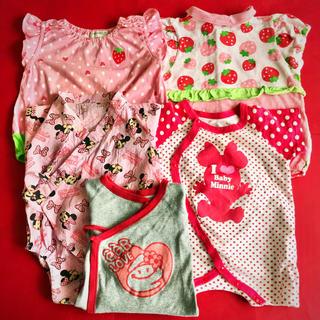 Disney - ㉘赤ちゃん DISNY BEBE ミニーマウス 浴衣 苺 ロンパース 5枚セット