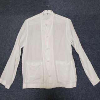フレンチリネン洗いざらし結び釦スタンドカラーシャツ