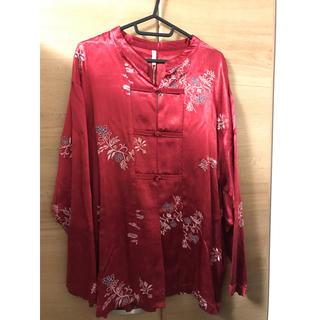 Ungrid - ungrid チャイナシャツ カンフーシャツ サテン 花柄 刺繍 レッド 新品