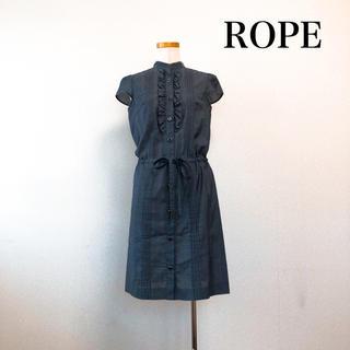 ROPE - ROPE 膝丈 コットンリネンワンピース グレー フリル 上品素敵♡