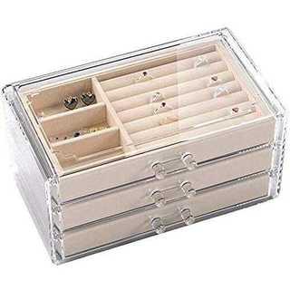 3階ジュエリーボックス 透明 3段&引き出し3つ ジュエリー&アクセサリー収納