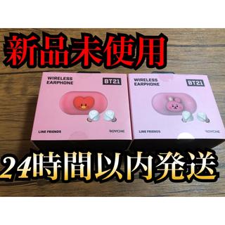 ボウダンショウネンダン(防弾少年団(BTS))のBT21 Bluetooth イヤホン 正規品2点(COOKY・TATA) 韓国(ヘッドフォン/イヤフォン)