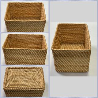 MUJI (無印良品) - 無印良品 重なるラタン長方形バスケット・大  2つ+フタ2つ